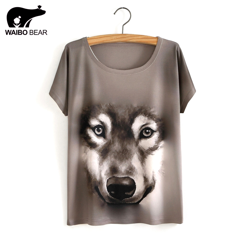 2017 New Fashion 3D Wolf Print Spring Summer Woman Clothes T Shirt Tops Tshirt Tee shirt ...