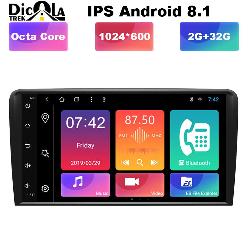 8 IPS HD Android 8 1 Radio GPS RCA Car DVD Player for Audi A3 8P