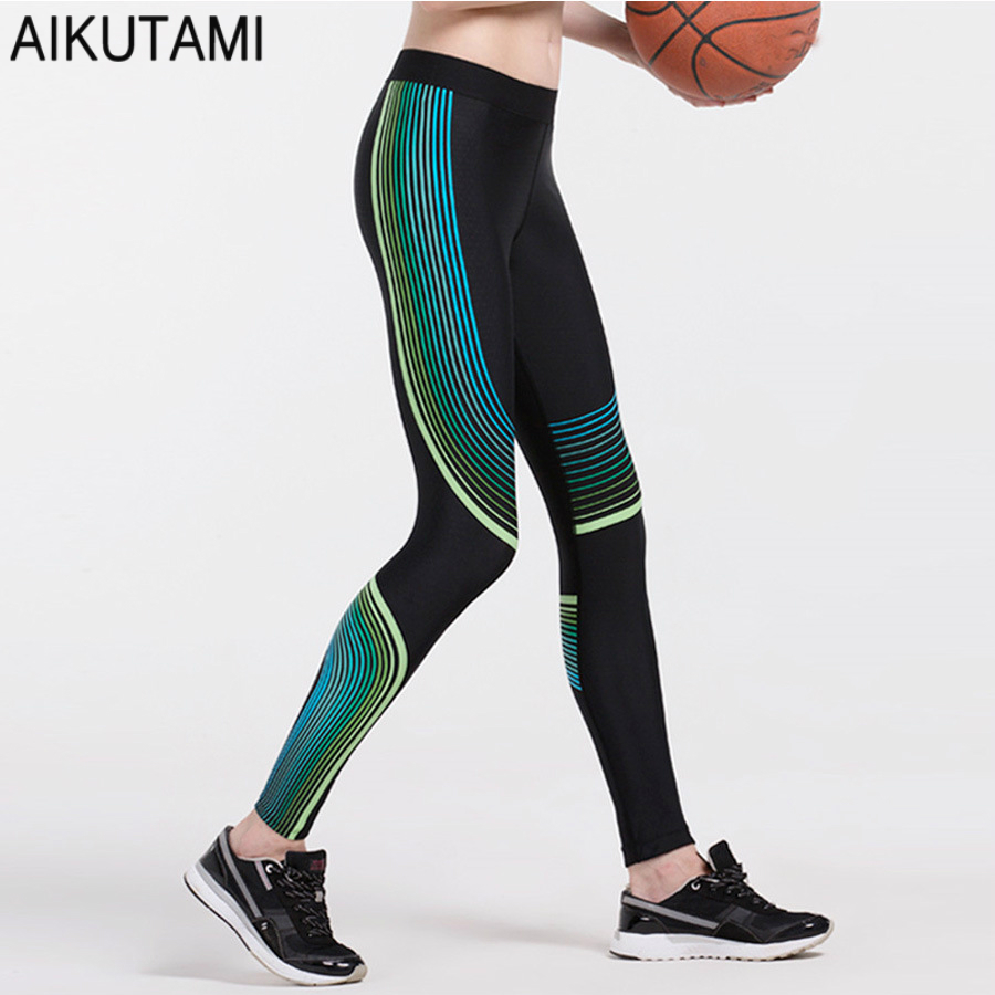 Compression Pants Sport Tights Women Stripe Quick Dry Fabric Fitness Clothing Running Gym Tights Training Pants Workout Trousers