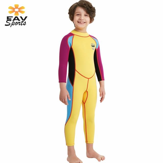 Children Diving Wetsuit Elastic Kids Long Sleeve 2.5mm UV Protect Swimsuit  Thermal Snorkeling Surfing Jumpsuit Rash Guard 3Color 150c5dde0