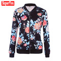 Superyou New Autumn Women Fashion Floral Slim Leisure Suit Lady Casual Long Sleeve Regular  Zipper Printed Jacket Oct21