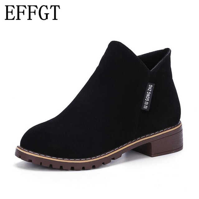 EFFGT New Fashion Women martin Boots Autumn Winter Boots Classic Zipper Ankle Boots Grind arenaceous Warm Plush Women Shoes N324