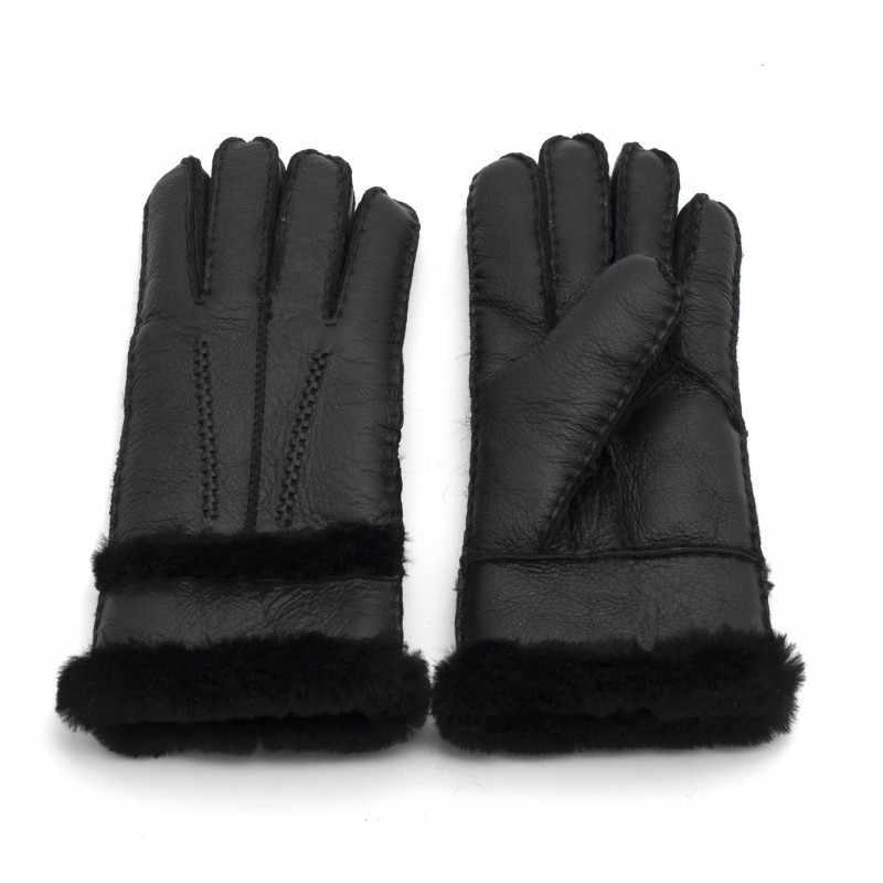 100% 純粋な羊皮冬の手袋の女性本物の羊皮カシミヤ毛皮暖かい手袋レディースフルフィンガー本革ミトン手袋