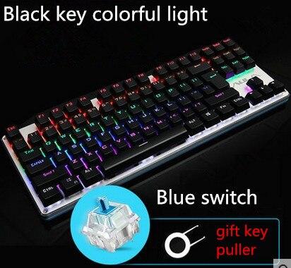 ФОТО Original ALUA F2012 87 keys professional gaming mechanical keyboard wired colorful backlight keyboard blue switch