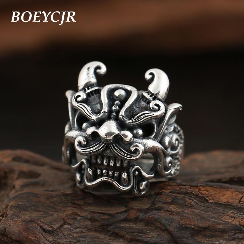 BOEYCJR S925 argent Sterling anneaux de Lion chinois bijoux fins Vintage réglable anneaux d'énergie pour hommes cadeau anillo anneau