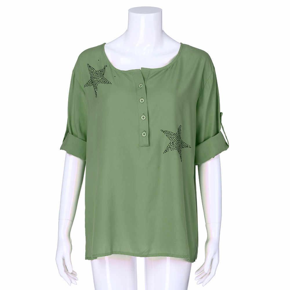 Womail Phụ Nữ hàng đầu Mùa Hè Thời Trang Giản Dị Nút Năm-nhọn Sao Khoan Nóng Cộng Với Kích Thước In phụ nữ lỏng lẻo t-shirt 2019 dropship f1