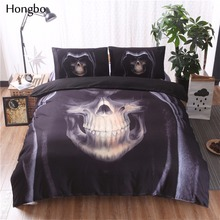 Hongbo 3D Black Skull Print Duvet Cover Set 3Pcs Double Queen King Bedclothes Bed Linen Bedding Sets(No Sheet No Filling)