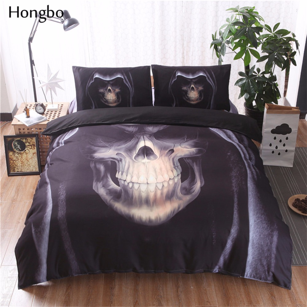 Hongbo 3D noir crâne imprimé housse de couette ensemble 3 pièces Double reine roi literie linge de lit ensembles de literie (pas de feuille pas de remplissage)