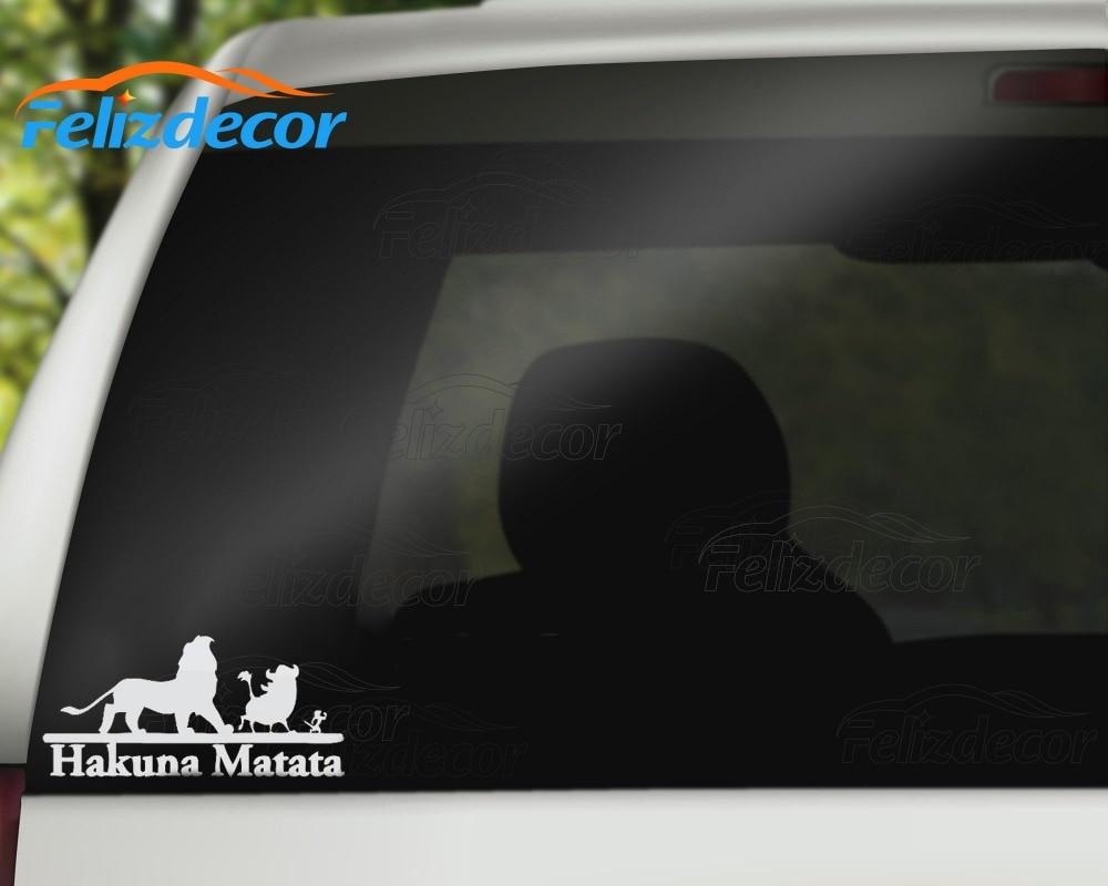 15cm Long Hakuna Matata Sticker Lion King Vinyl Car Decal Cartoons Rear Windshield Decor Art Bumper Stickers White Hot Sale L437 In From
