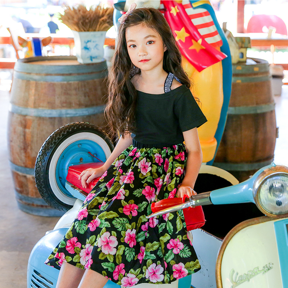 цена Kids Long Skirts For Girls Children Clothing Elastic Waist Floral Print Girls Skirts Summer Costume Beach Wear 4 6 8 10 12 14 Y