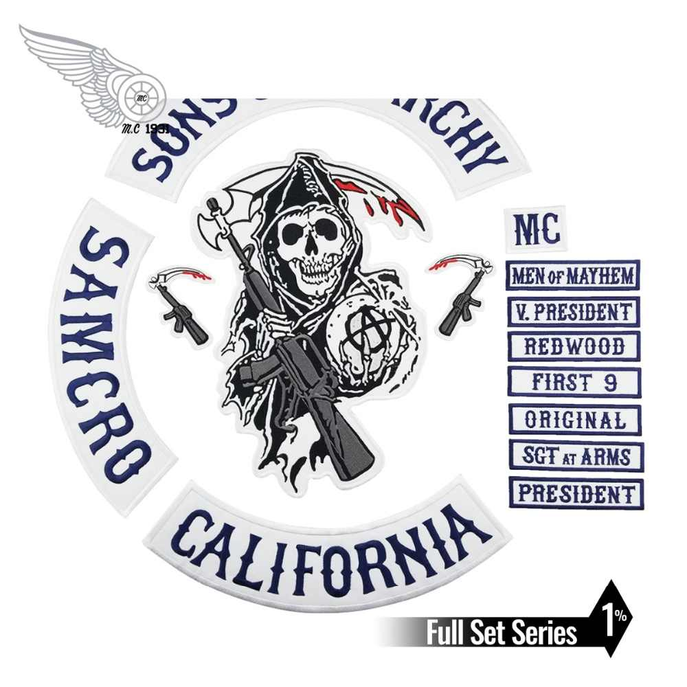 Sons of patch Anarchy Biker Rivestimento Degli Uomini ricamato il Ferro Sul Sew On patch per i vestiti Blu completamente 15pcs Set SOA Serie Cranio
