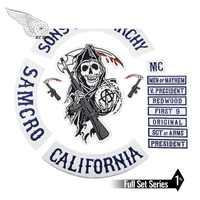 Fils de patch Anarchy Biker hommes veste brodé fer sur coudre sur patch pour vêtements bleu entièrement 15 pièces ensemble SOA crâne série