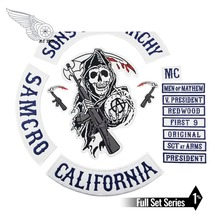 Sons of patch Anarchy Biker Men Jacket embroidered Iron On Sew On patch for clothes Blue fully 15pcs Set SOA Skull Series