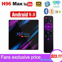 Android 9.0 TV Box H96 Max Rockchip RK3318 4K Smart TV Box 2.4G&5G Wifi BT4.0 H96Max 4GB 64GB Media Player Android Set Top Box