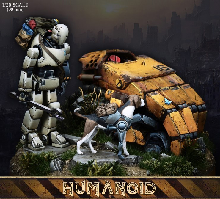 resin assembly Kits 1/20 90mm Humanoid character and dog 90mm Unpainted Kit Resin Model Free Shipping