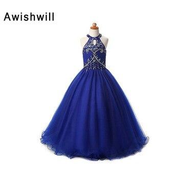 Real Photo 2020 Flower Girl Dress Floor Length Beadings Tulle Sleeveless Kids Evening Party Communion Girls Pageant Dresses