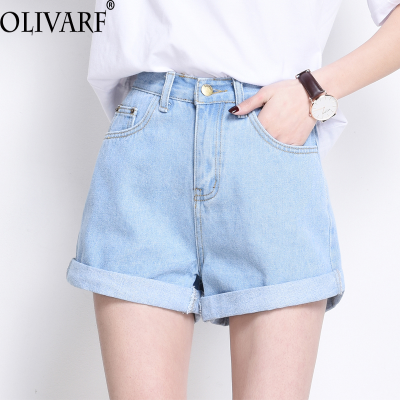 OLIVARF Mini shorts sexy ripped short jeans female summer  wathet blue hole hot shorts High waist denim shorts women bottoms