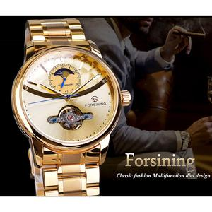 Image 3 - Forsining Automatic Self Wind Male Watch Golden Dial Stainless Steel Casual Moonphase Gold Mechanical Tourbillon Men Clock Reloj