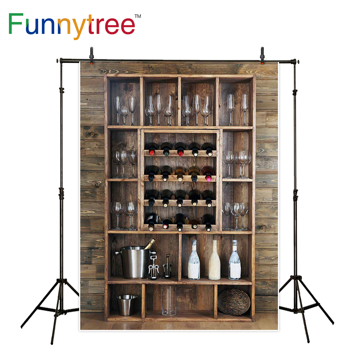 Funnytree photography backdrops Shelving with wine bottles glasses on wooden wall background photocall photography studio funds