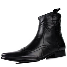 Discount spring males's chelsea boots on-line Handmade Genuine Leather Mid Calf boots Brand black martin boots Set Foot Pointed Toe