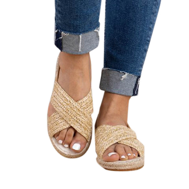 Women Fashion Flat Straw Hemp Rope Elastic Band Casual Shoes Roman Sandals Leisure Solid Color shoes woman Sandals travel Apr 15