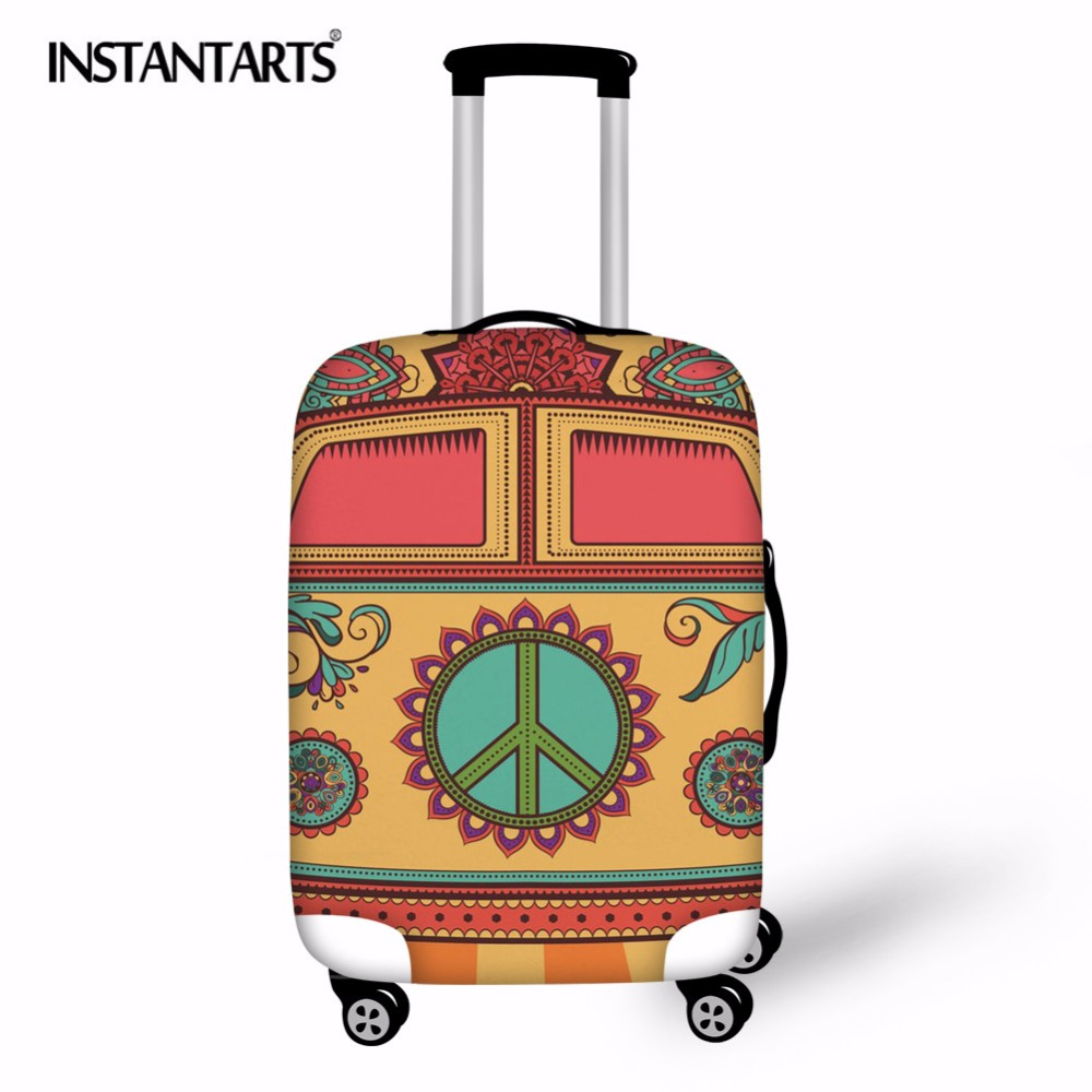 INSTANTARTS Hippie Van Print Suitcase Protective Cover Elastic Dust Bags Case Travel Accessories Thick Luggage Protector Cases