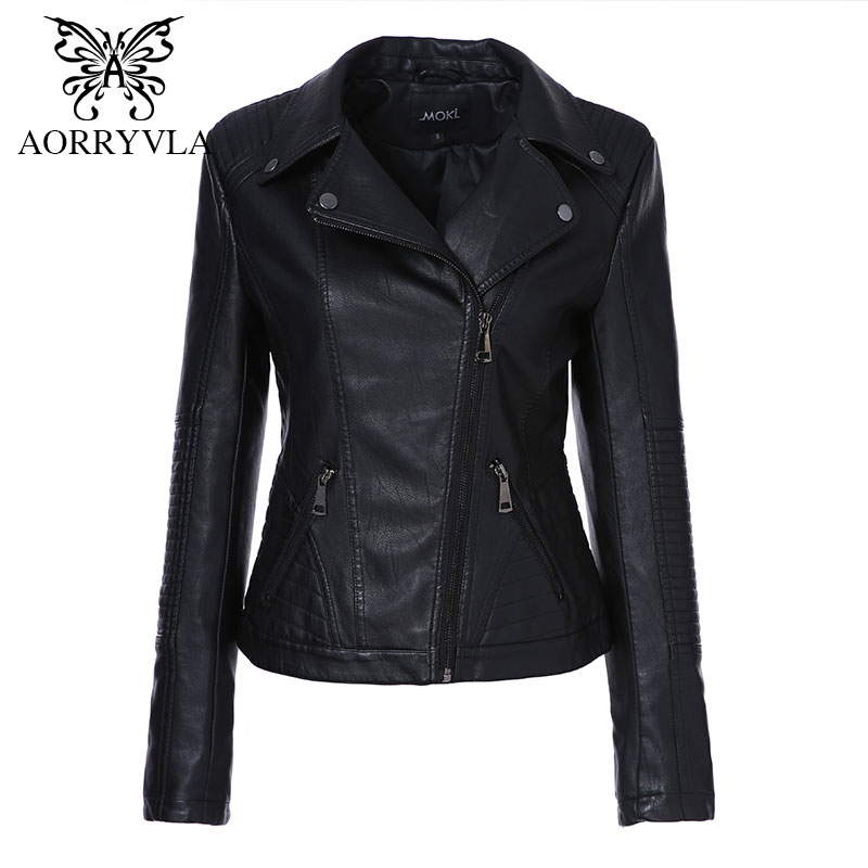 AORRYVLA 2019 New Spring Women Faux Leather Jacket Fashion Black Color Turn Down Collar Zippers Short