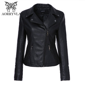 Brand PU Leather Jacket Women Spring 2020 Fashion Black Turn-Down-Collar Moto Biker Jacket Zipper PU Leather Coats Slim Outwear