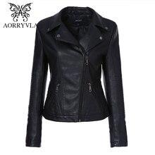 AORYVLA Стильные женские кожаные куртки косухи 2019 черная цвета отложным воротником Подпушки воротник Молнии короткие женские куртка из зкокожа