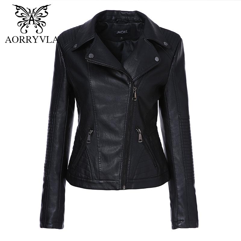 AORRYVLA 2019 Nouveau Printemps Femmes Faux veste en cuir De Mode Noir Couleur Turn-Down Col Courtes Fermetures Dames PU veste en cuir