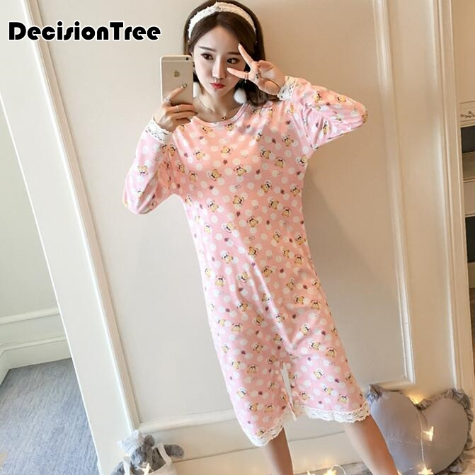 2019 summer women   nightgowns   cotton   sleepshirts   sleep clothing long sleeve sleepwear female pyjamas animal print nightie