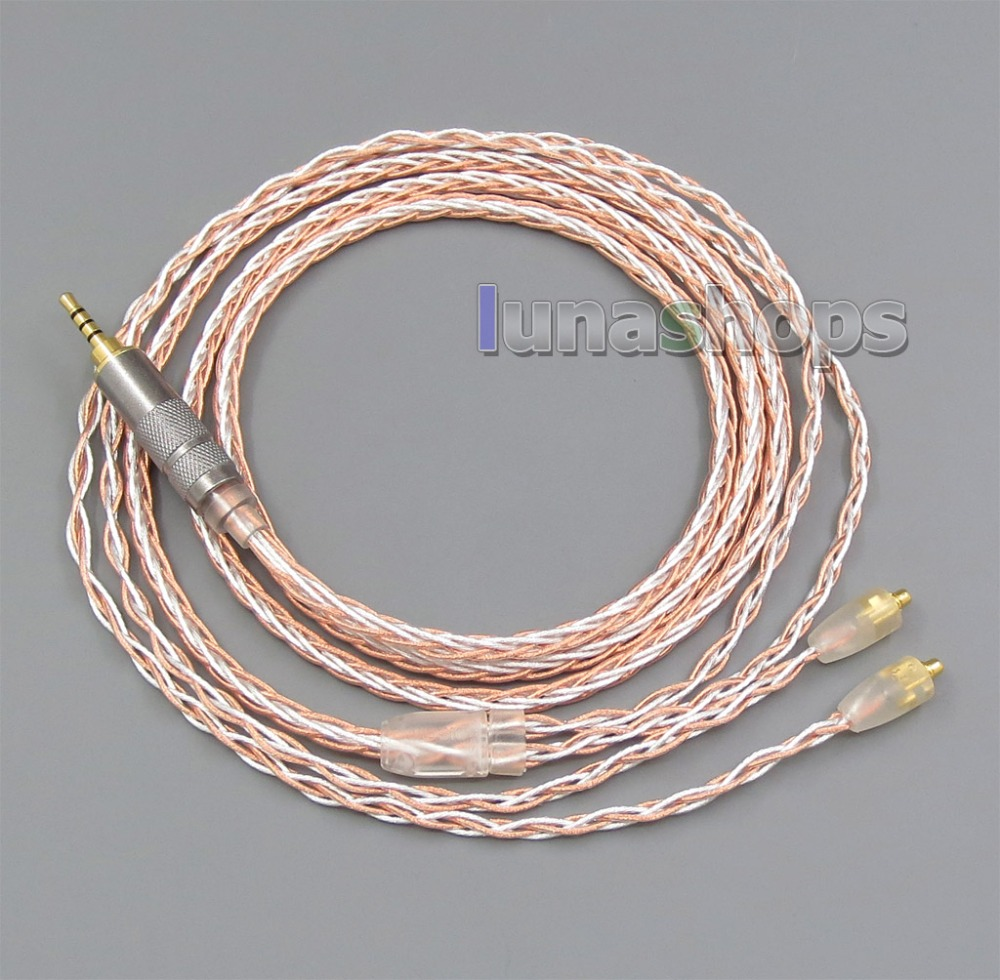 3.5mm 2.5mm 4.4mm 800 Wires Soft Silver + OCC Alloy Tefl AFT 2.5mm Earphone Cable For Shure se535 se846 800 wires soft silver occ alloy teflo aft 2 5mm earphone cable for shure se535 se846 ln005663