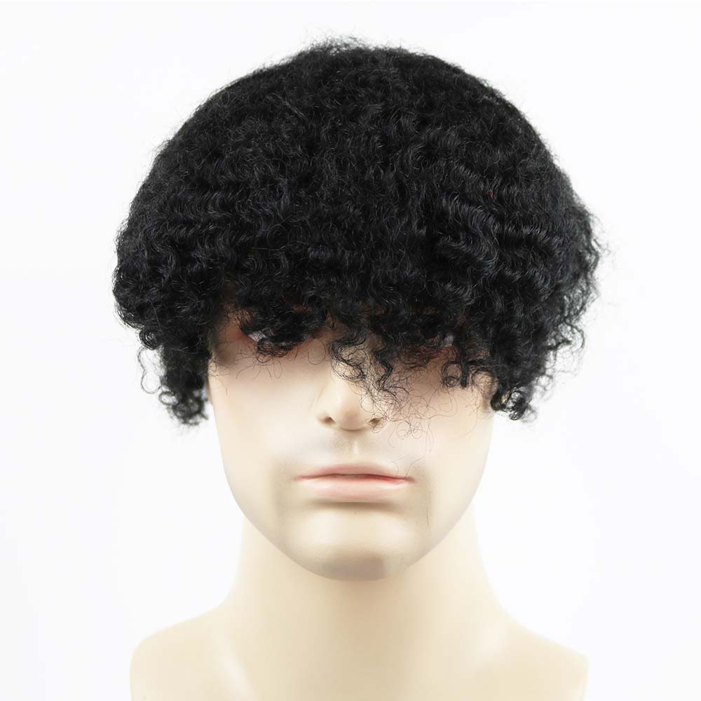 Bleached Knots Wave Toupee PU Remy Indian Human Hair Wavy Hair Replacement For Men Human Hair Men Wig