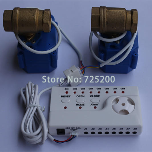 Hot selling Water Flood Stopper Water Leakage Alarm System with 2pcs 3/4 Electric Ball Valve(DN20) for Hot and Cold Water free shipping 3 4 dn20 stainless steel float valve floating valve cold and hot water tank water tower df1211