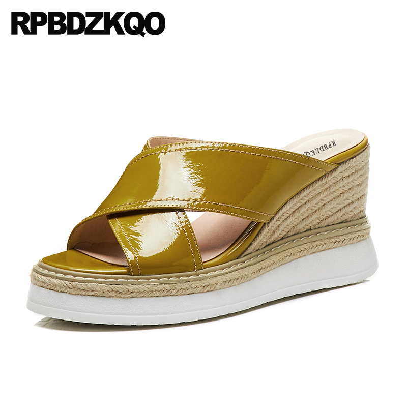 насосы эспадрильи роскошь Настоящая кожа надевать желтый женщины веревка обувь подглядывать слайды платформа клинья сандалии лето высоки