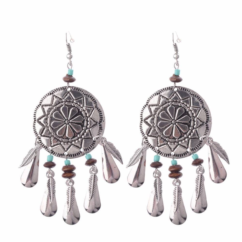 Silver Round Pendant Flower Pattern Tassels Dreamcatcher Dangle Earrings  Alloy Feather Tassels Drop Earrings Hqe376(