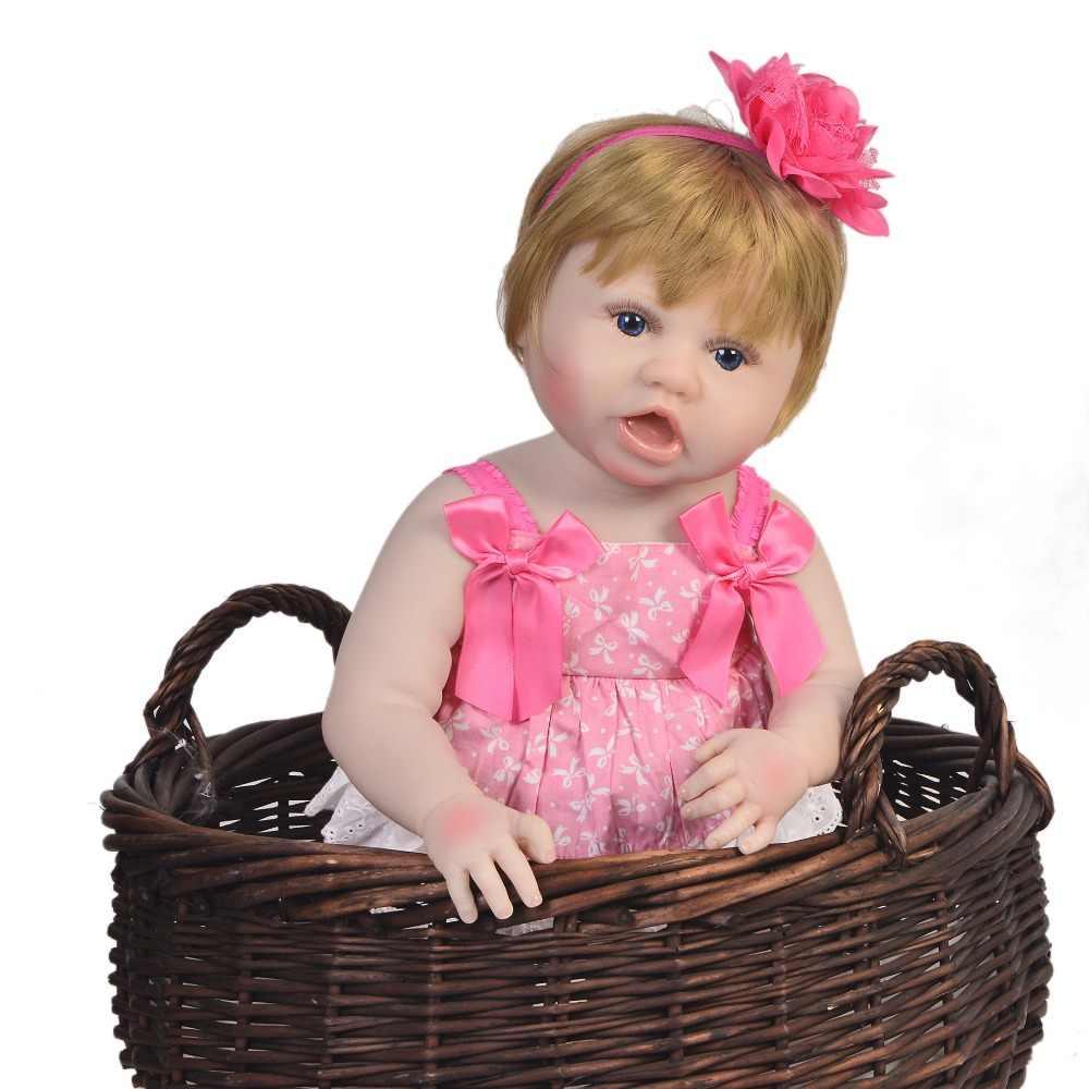 55 см Bebe возрожденная менина с 1 шт. розовая соска в подарок модная вся силиконовая кукла-младенец кукла живой ребенок девочка Развивающие игрушки DIY