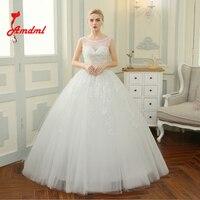 Amdml Luxury Beaded Sequined Bodice Ball Gown Wedding Dresses 2017 Linear Beaded O Neck Robe De