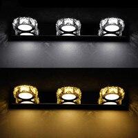 Moderno 6 w led wall light 2-lights cristal redondo AC85-265V banheiro quarto banheiro lâmpadas de parede decoração arandelas iluminação