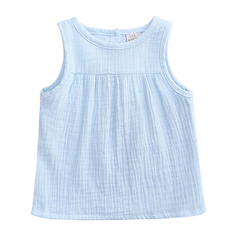 リネンコットンベビー少年少女の夏の Tシャツ新しい幼児 Tシャツ女の子キッズベビーパーティータンクチュチュノースリーブ Tシャツ