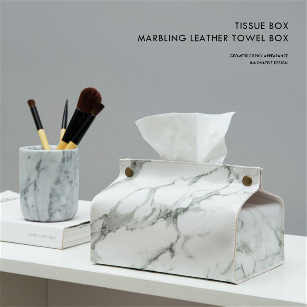 Tissue Case Box Container PU Leather Home Car Towel Napkin Paper Holder Box Case