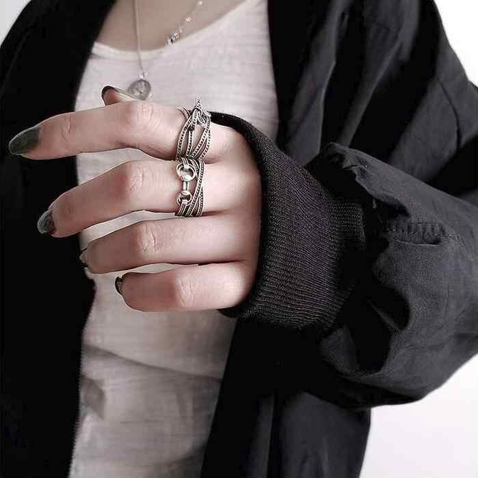 Женские и мужские тайские кольца Anenjery, регулируемые, из стерлингового серебра 925 пробы в стиле панк в форме подковы /банта с насечками, S-R389