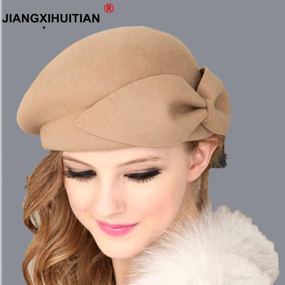 2018 Hot Female Cute British 100% Ull Felt Beret Hat Women French Lady Artist Flat Cap Bow Boina Feminino Hatter For Girls Gift