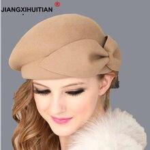 1957b277527d9 2018 Hot Female Cute British 100% Wool Felt Beret Hat Women French Lady  Artist Flat Cap Bow Boina Feminino Hats For Girls Gift