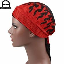 Summer Men's Mesh Durags Turban Bandanas Print Durag Breathable Doo Rag Headwear Hair Accessories Du Rag rag