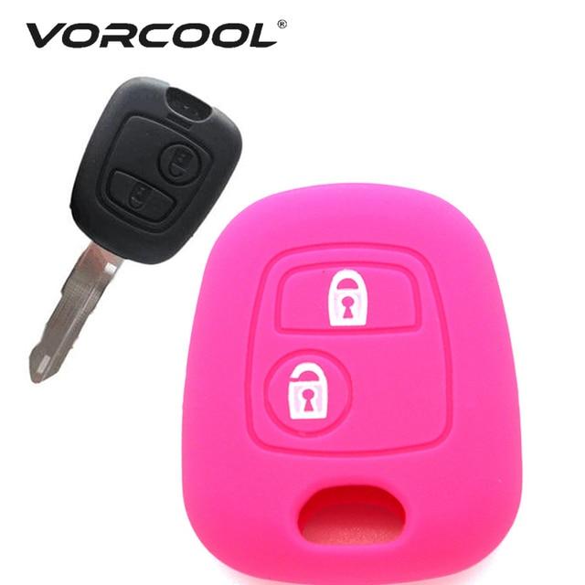1 funda con llave de silicona para Peugeot 206 307 207 408 negro Rosa rojo púrpura funda con llave accesorios para coche
