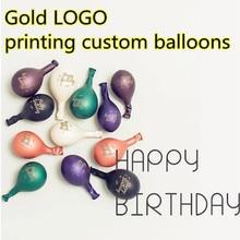 Altın LOGO baskı özel balonlar logo balon baskı olay promosyon kişiselleştirilmiş balonlar