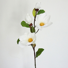 82cm Long Stem 4 Heads Artificial Magnolia Flower Branch for Home Garden Decoration Wedding Party DIY Silk Fake Flowers Floral цена и фото