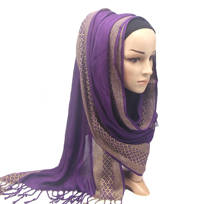 Women Sparkly Floral Print Cotton Lurex Head Scarf Tassels Hijabs Shawls Good Quality Scarves Muslim Turban Turkish Scarf