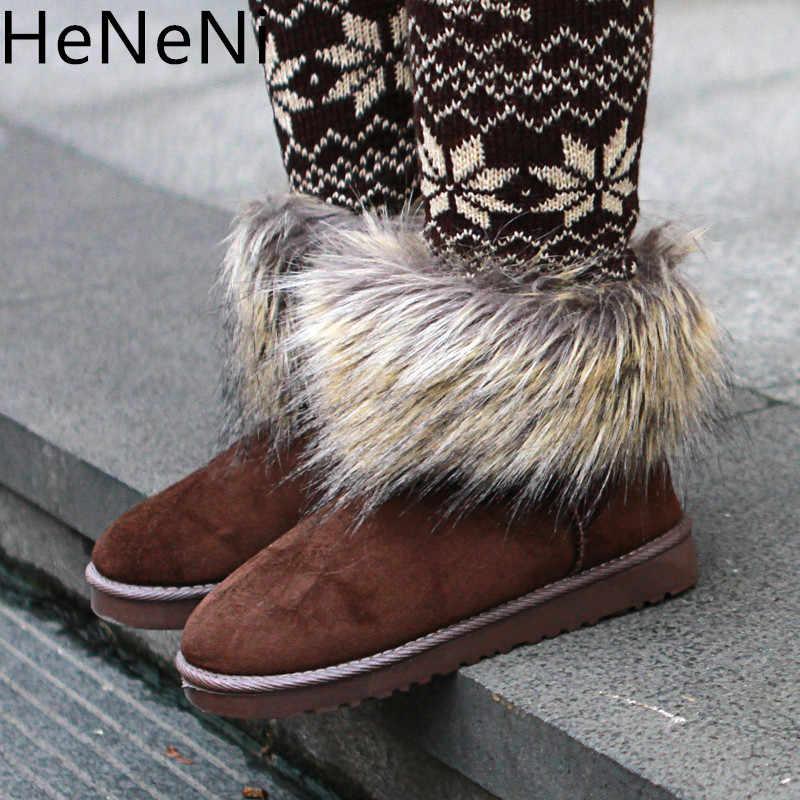 Scarpe Da donna di Spessore di Pelliccia Stivali Da Neve di Modo 2018 del Nuovo Cotone di Inverno Caldo Scarpe Per Le Donne Della Caviglia Stivali